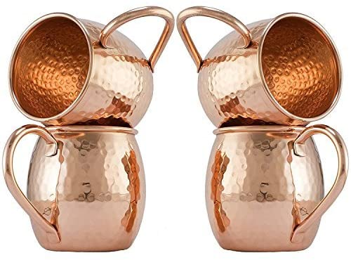 Zap Impex Pure Copper Moscow Mule Barrel Hammered Copper Mugs Non-Coated, Ideal for all Chilled Drink Bar or Home Best Gift Set of 4