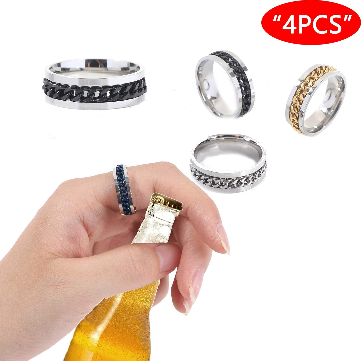 4 Pack Fashion Stainless Ring Rotatable Bottle Opener Party Ring Rotating chain Creative Versatile Beer Bottle Opener for Christmas Birthday Party (9)