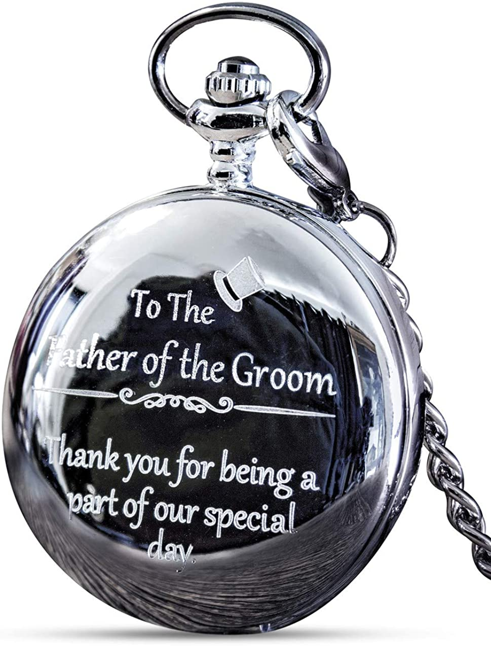 Father of The Groom Gifts - Engraved 'Father of The Groom' Pocket Watch - Wedding Gifts for Father of The Groom from Groom & Bride