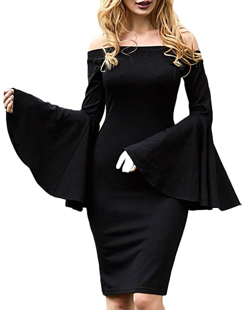 Hattfart Womens Off Shoulder Flared Long Sleeve Bodycon Cocktail Party Pencil Midi Dress