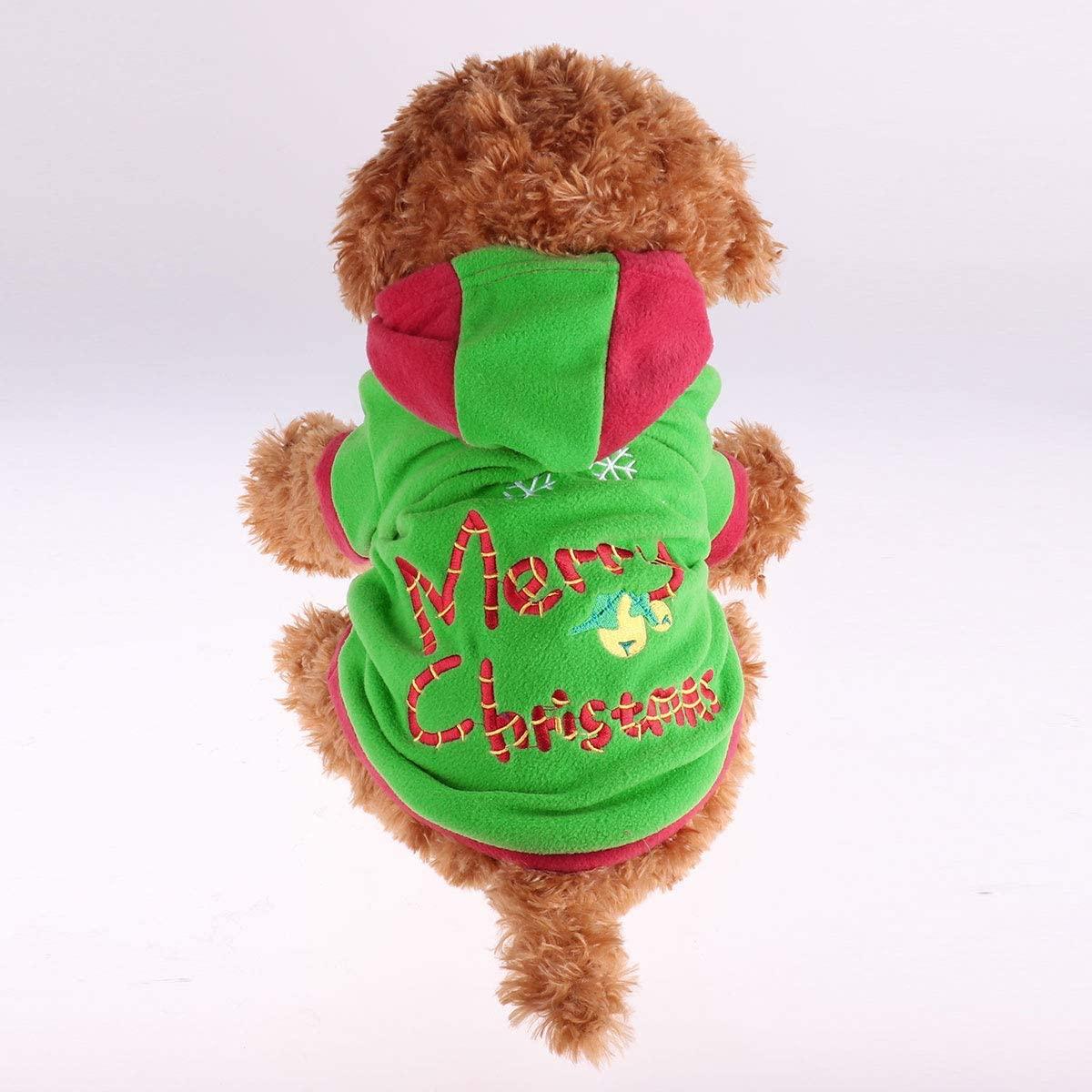 TiaoBug Dog Short Sleeves Shirt Costume Xmas Tree Pet Clothes Hoodie Holiday Pet Coat Apparel