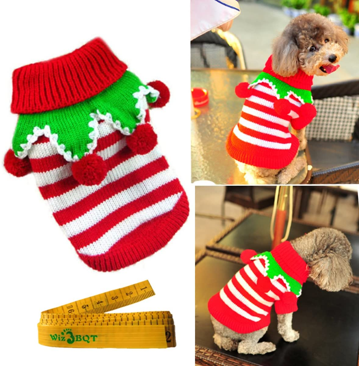 Christmas Turtleneck Knitted Pet Dog Cat Sweater Knitwear Outerwear with Collar and Balls for Dogs & Cats (Red & White Stripes, XS)