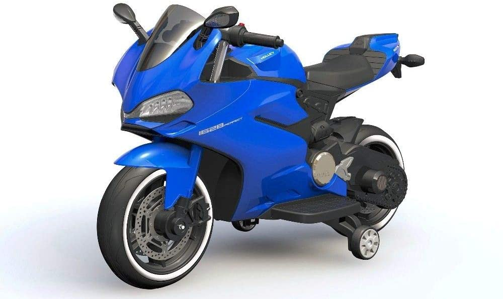 TJ with Handlebar Accelerator 12V Electric Kids Ride on Motorcycle 2 Speed with Training Wheels Led Wheels(Blue) …