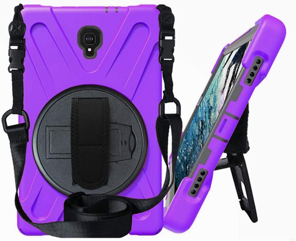 Galaxy Tab A 10.5 (2018) [T590 / T595 / T597] Case by KIQ Shockproof Heavy Duty Military Armor Hybrid Case Cover Kickstand for Samsung Galaxy Tab A 10.5 2018 SM-T590 (Shield Purple)