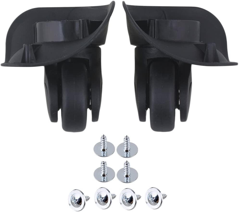 RDEXP Black 9.1cmx10.7x4.9cm Left & Right Luggage Wheels with Screws Replacement Set of 2