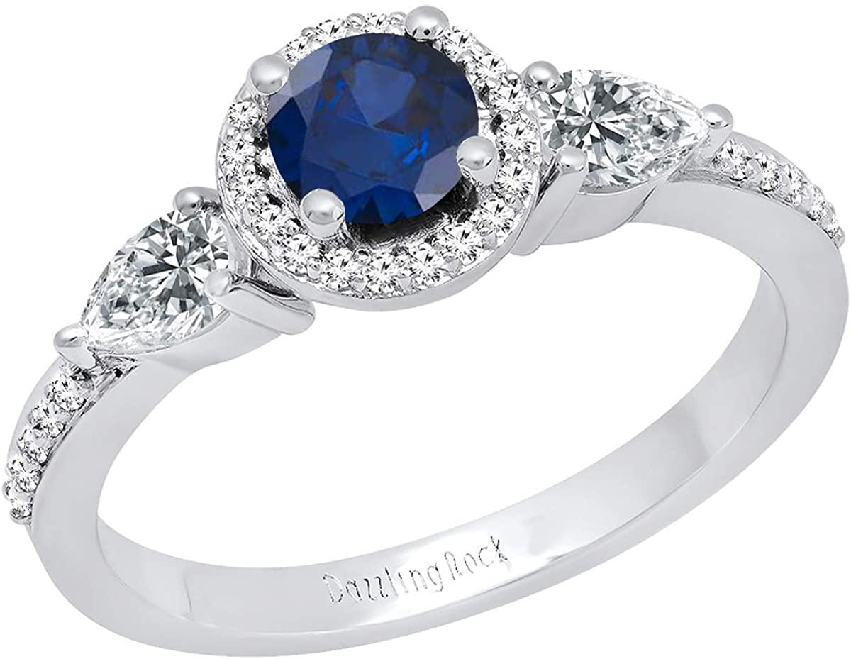 Dazzlingrock Collection 10K 5 MM Round Gemstone, Pear White Sapphire & Round Diamond Ladies 3 Stone Ring, White Gold