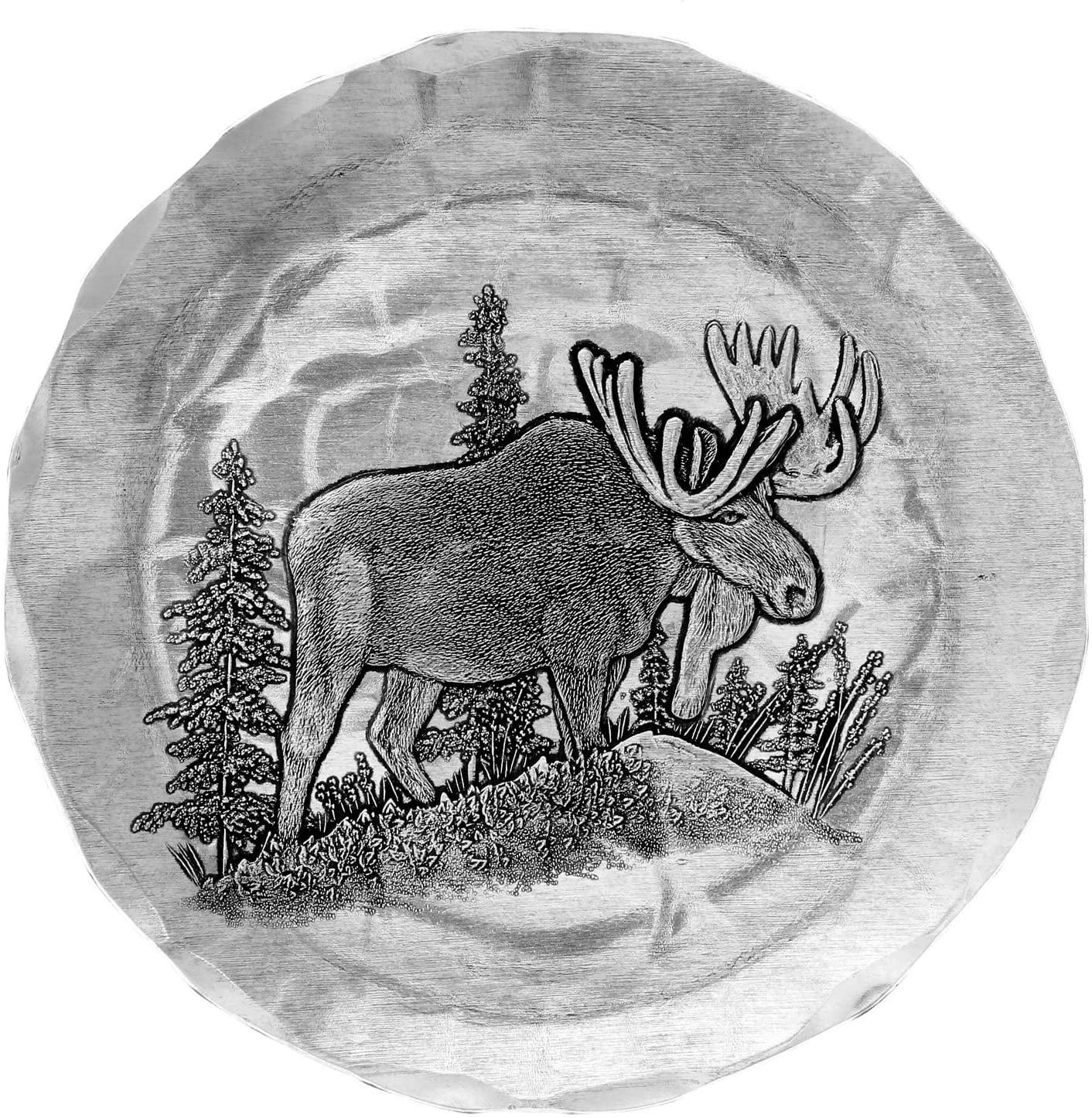 Woodland Animal Metal Coaster, Handmade in the USA, Keeps Tabletops Safe (Moose)
