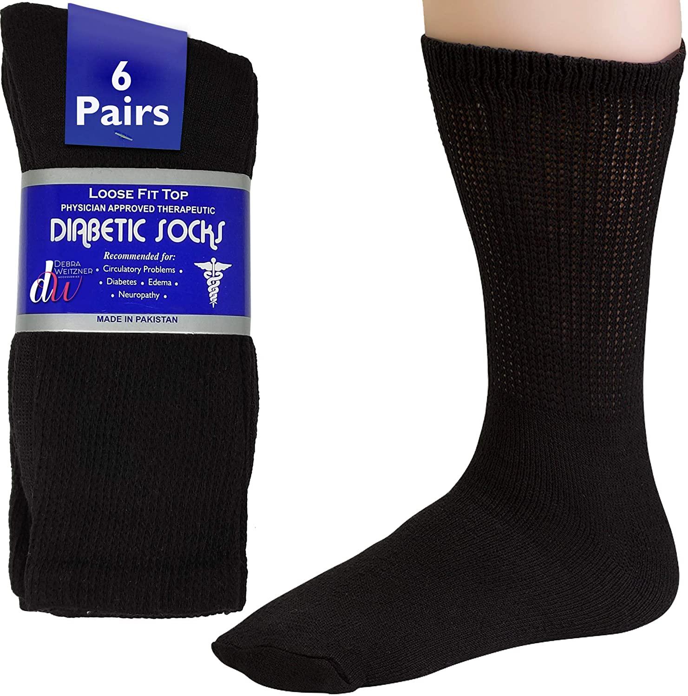 Debra Weitzner Men's 6-pack Diabetic Crew Socks,Black,10-13