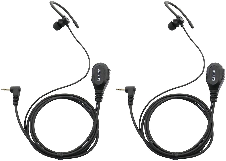 Karier 1 Pin Walkie Talkie Headset Earpiece with PTT Mic and Soft Silica Gel C Shape Earloops for Motorola MD200TPR MH230R MR350R MS350R MT350R MG160A MH230TPR Two Way Radios (2 Pack)
