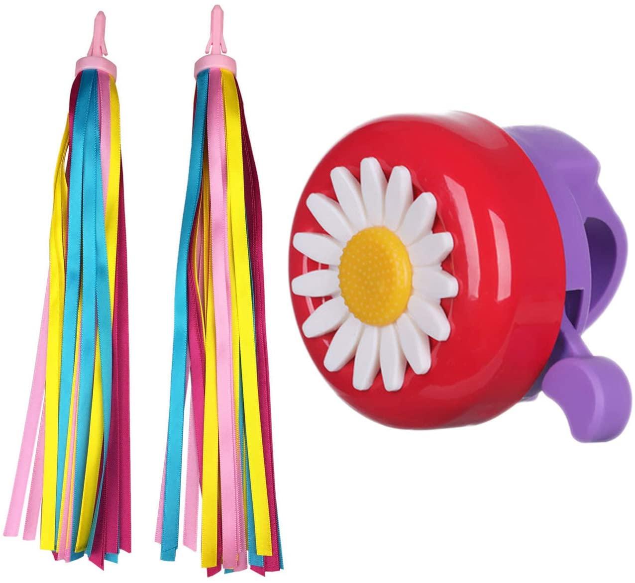 Platt Bike Bell for Kids, Bike Horn for Boys and Girls Bike with 1 Pair Bike Streamer Tassels