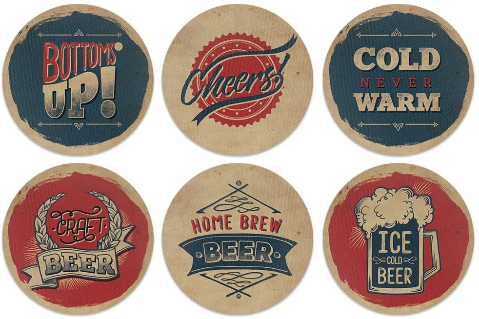 CARIBOU Coasters , Vintage Paper Beer Design Absorbent ROUND Fabric Felt Neoprene Coasters for Drinks, 6pcs Set