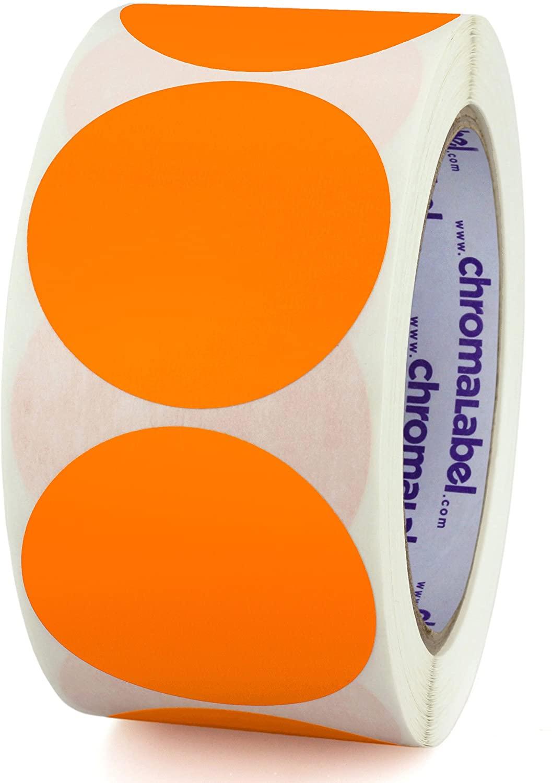 ChromaLabel 2 Inch Round Permanent Color-Code Dot Stickers, 500 per Roll, Orange
