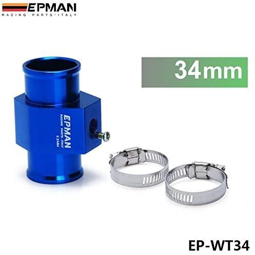 EPMAN 34mm Water Temp Gauge Use A Commercial Sensor Attachment Aluminum (Blue)