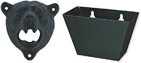 Swonvi Iron Bear Teeth Wall Mount Bottle Opener and Cap Catcher Set (Black Opener+ Black Cap Catcher)