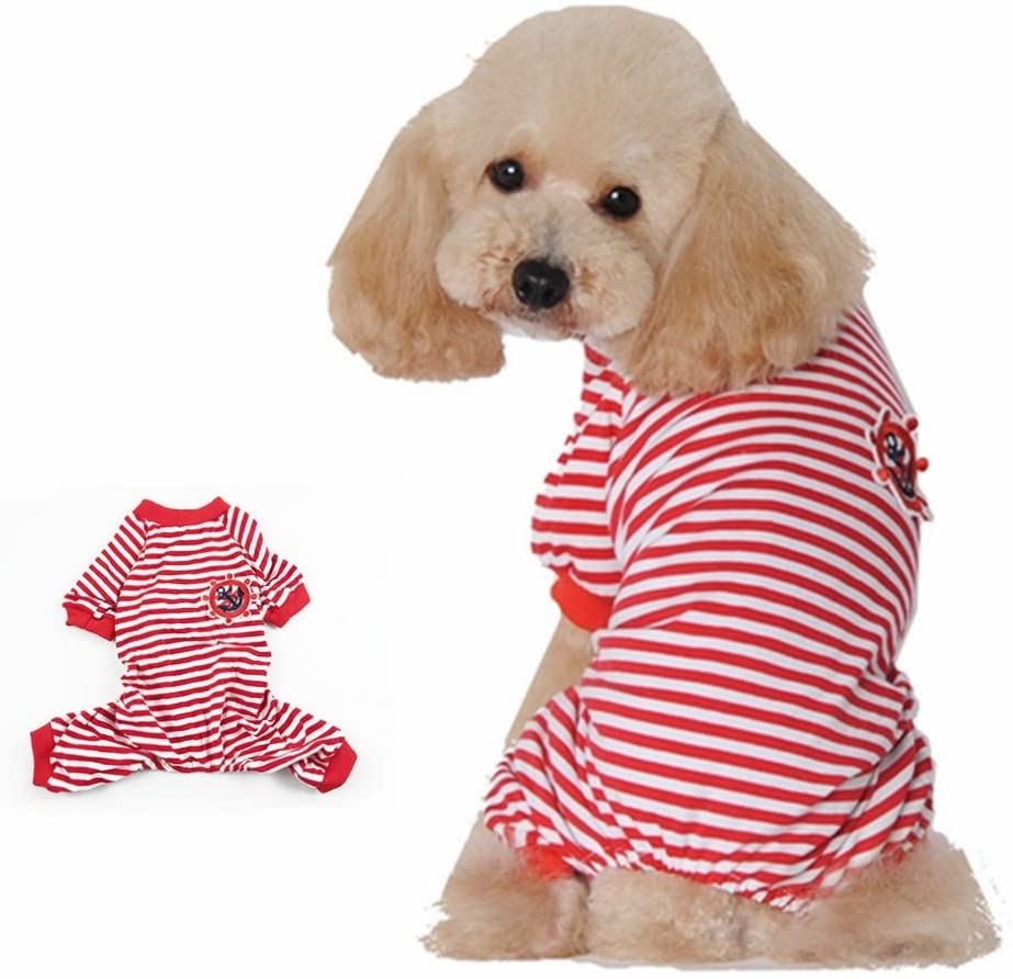 Leowow Dog Stripe Clothes Dog Pajamas Jumpsuit Shirt