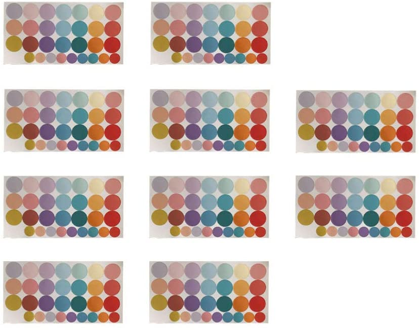 SUPVOX 10 Sheet Colorful Round Dots Color Coding Labels Stickers Circle Dot Stickers, Assorted Bright Neon Colors for Office Envelope Seals