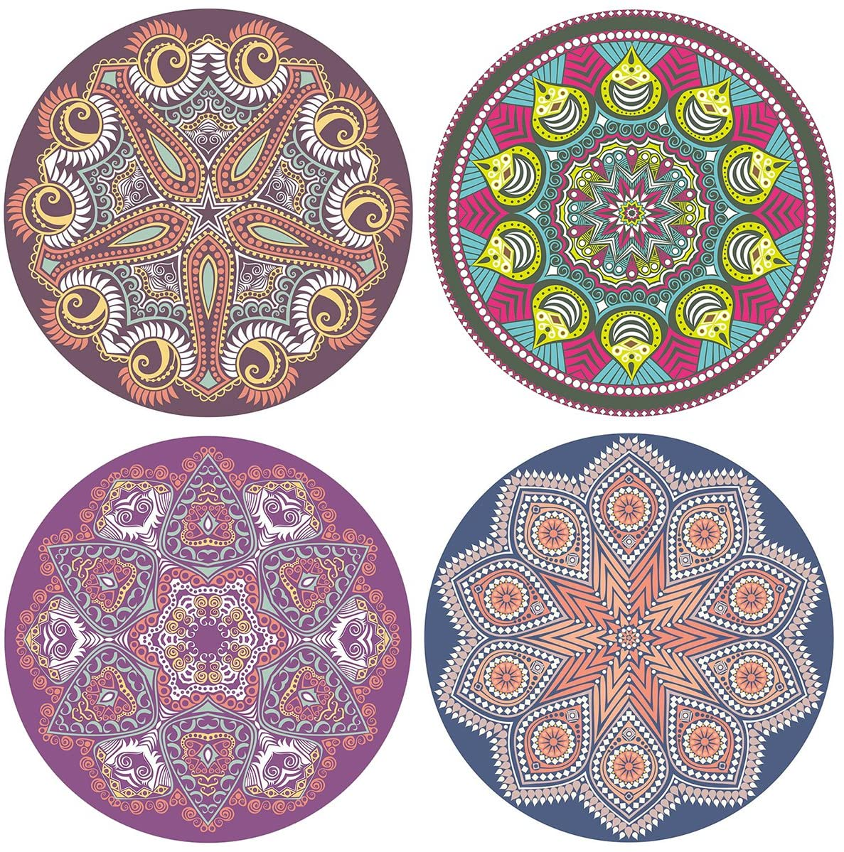 SUPCOW Non Slip Ceramic Coaster Set of 4, Absorbent Stone Coasters for Drinks Coffee Mug Glass Cup Place Mats Mandala