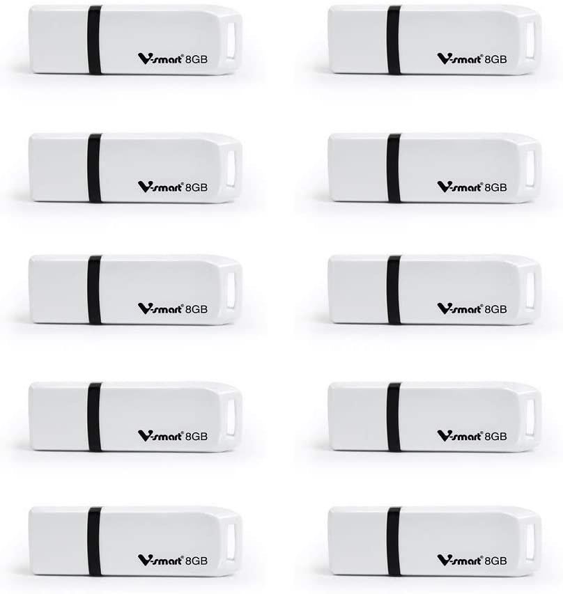 V-SMART 10 Pack White Plastic Case USB Memory Flash USB 2.0 USB Flash Drive 8GB(VS125)