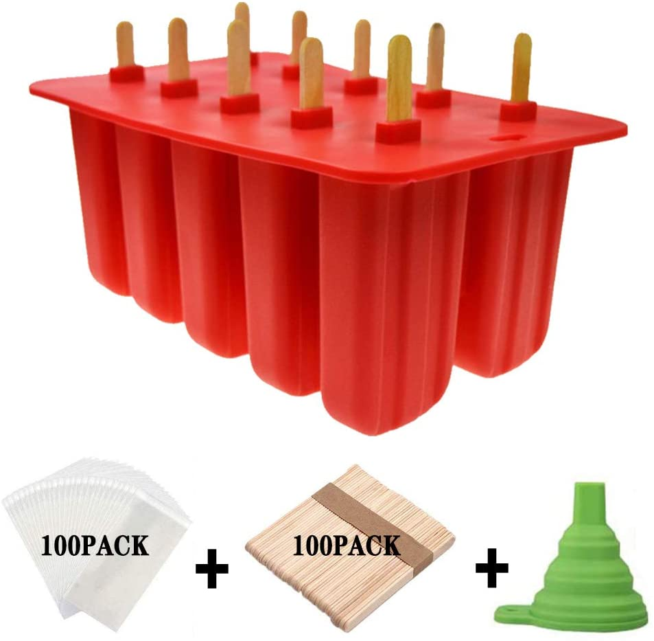 Homemade Popsicle Molds Shapes, Silicone Frozen Ice Popsicle Maker-BPA Free, with 100 Popsicle Sticks, 100 Popsicle Bags, 1 funnel(10 Cavities)