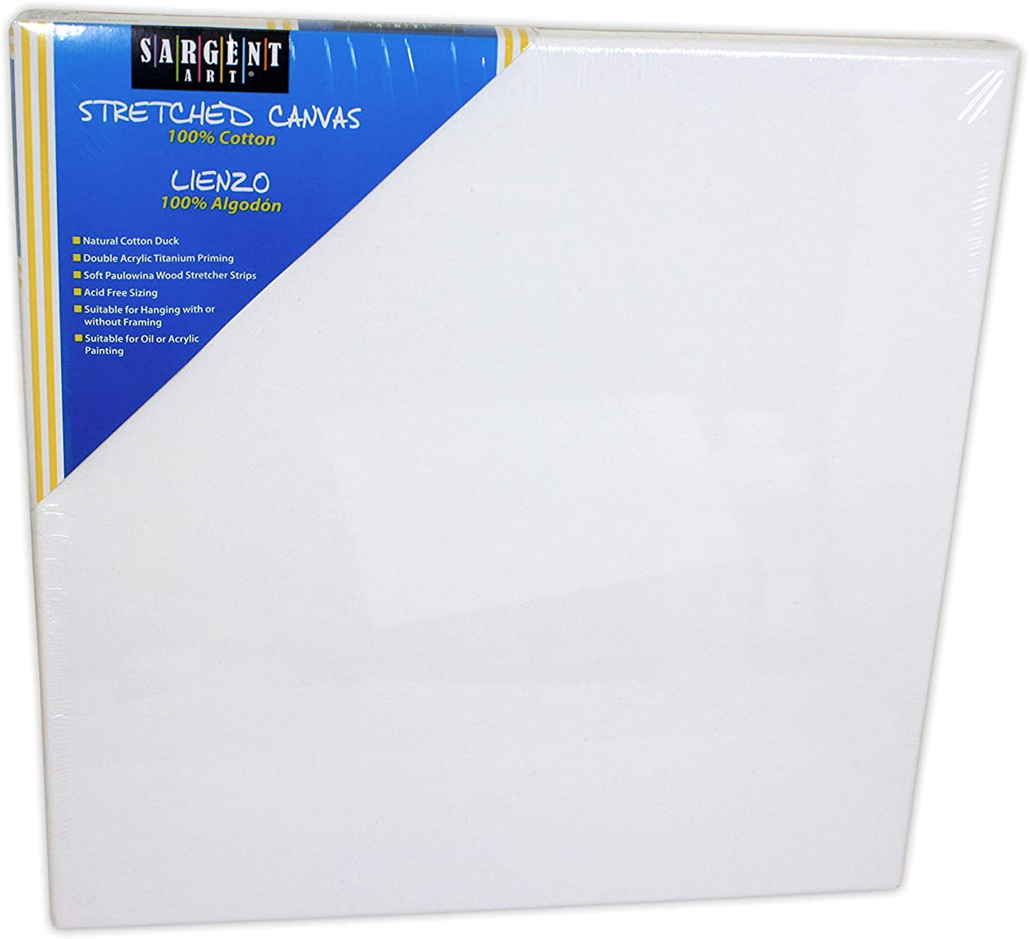 Sargent Art 90-2020 20x20-Inch Stretched Canvas, 100% Cotton Double Primed