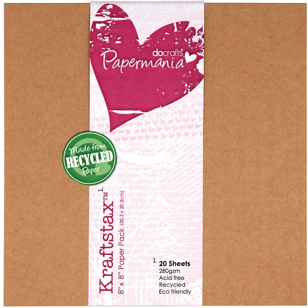 DOCrafts Papermania Kraftsta by 280 GSM Cardstock 8 by 8-Inch, 20-Pack