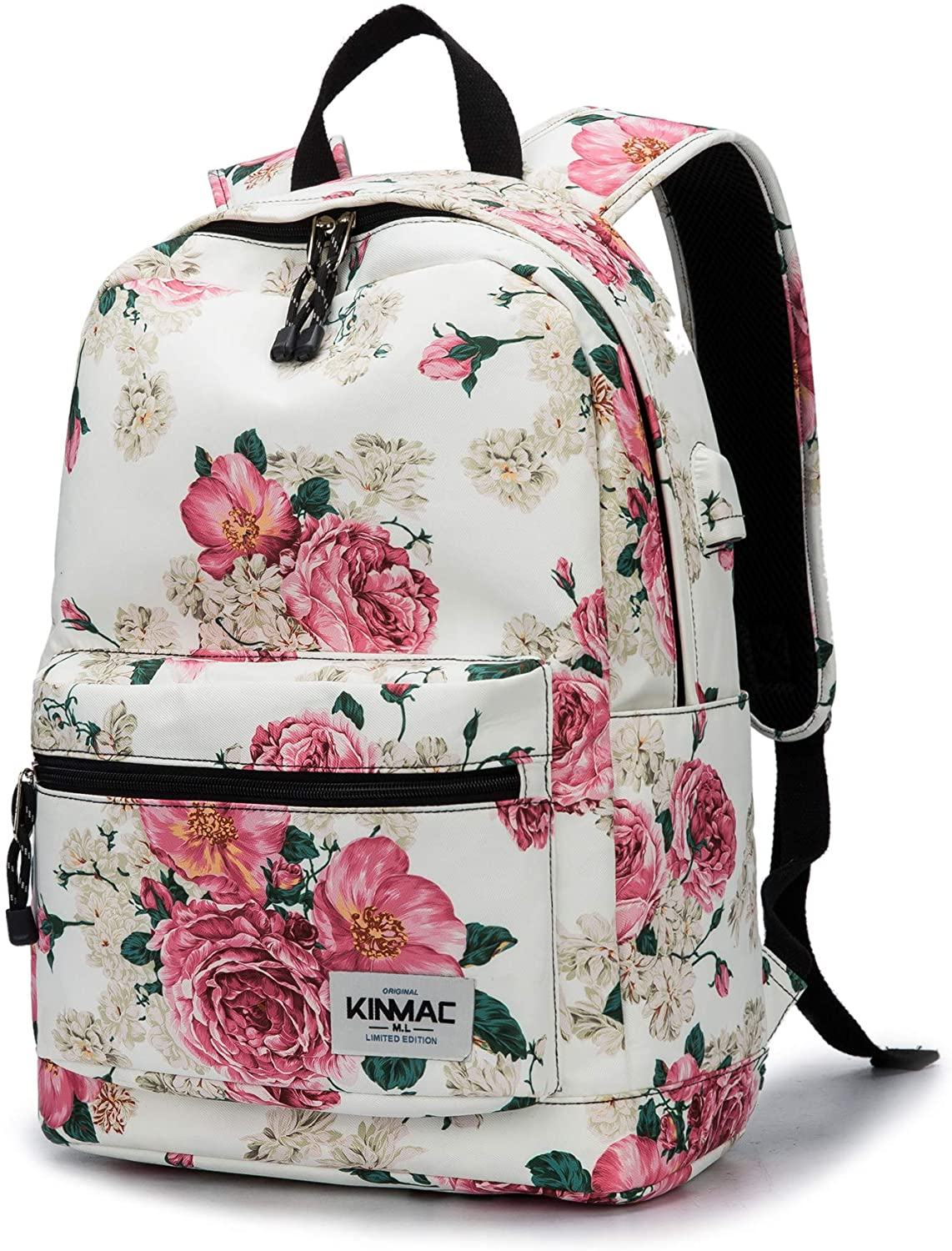 Kinmac Peony Pattern 15 inch Waterproof Laptop Travel Outdoor Backpack With USB Charging Port For 13 inch 14 inch and 15.6 inch Laptop