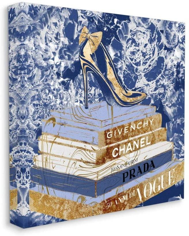 Stupell Industries Designer Glitz Heel on Books Fashion Glam Blue, Designed by Ziwei Li Wall Art, 36 x 36, Canvas