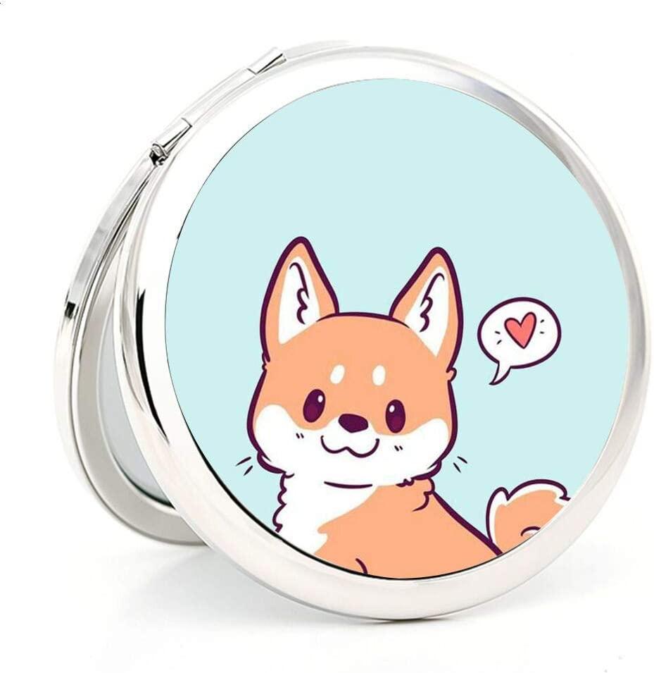 Compact Mirror Makeup Mirror Folding Mini Pocket Mirror Portable Double-Sided Mirror Circular Double Mirror Cartoon Corgi