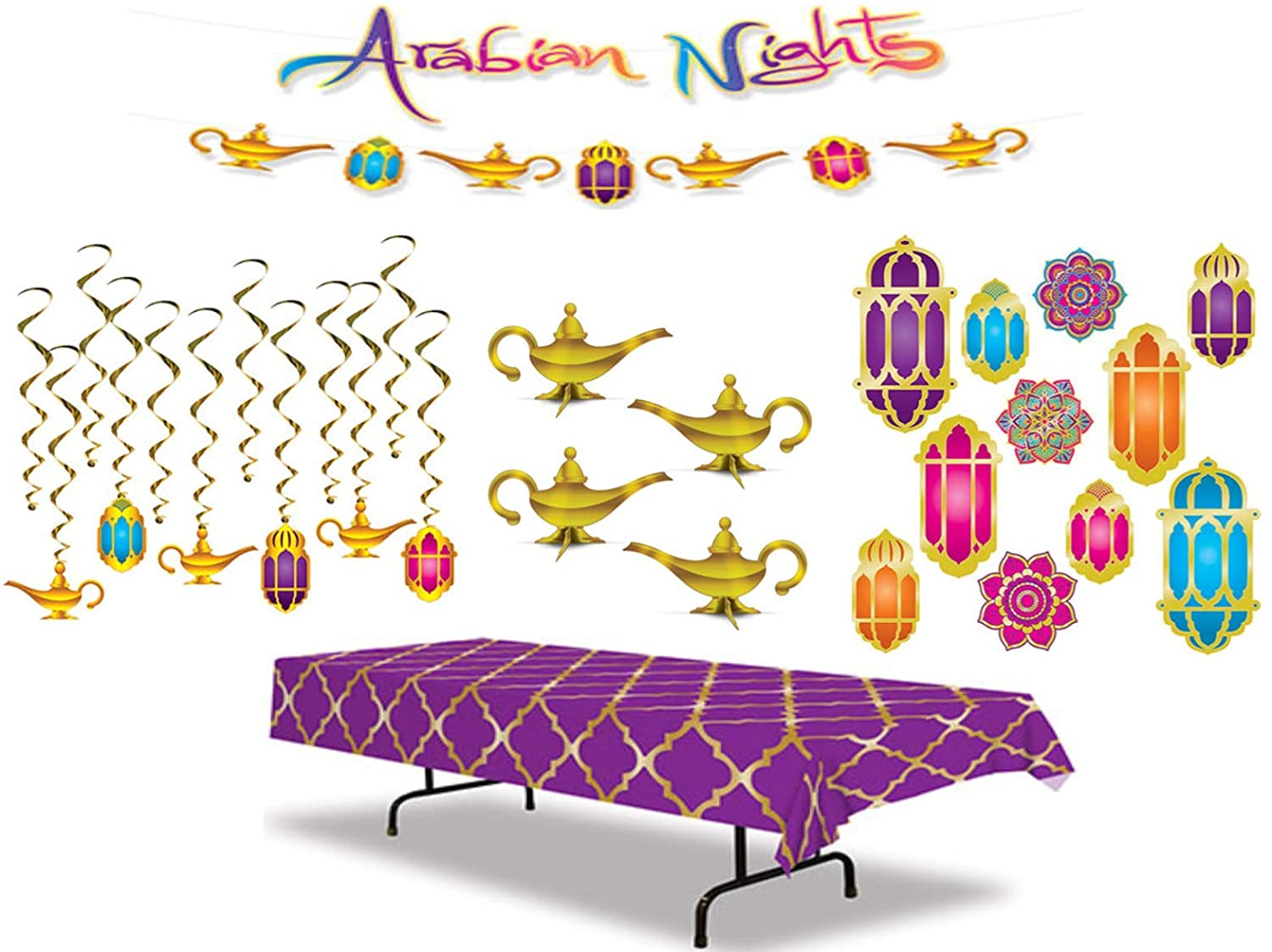 Arabian Nights Party Decoration Kit Including a Table Cover, Hanging Decorations, 3-D Foil Centerpieces, Streamer Set, and Cutouts