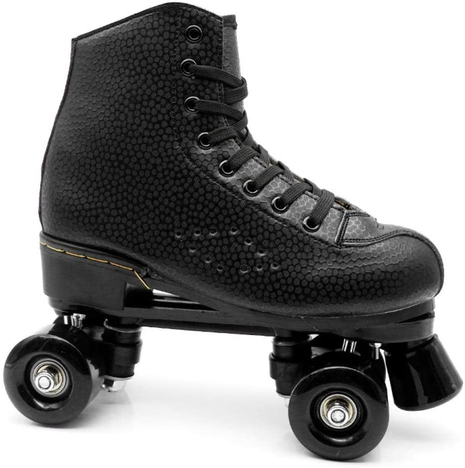 Womens Roller Skates PU Leather High-top Roller Skates Four-Wheel Double Row Light Up Roller Skates Roller Skates for Girls Adults