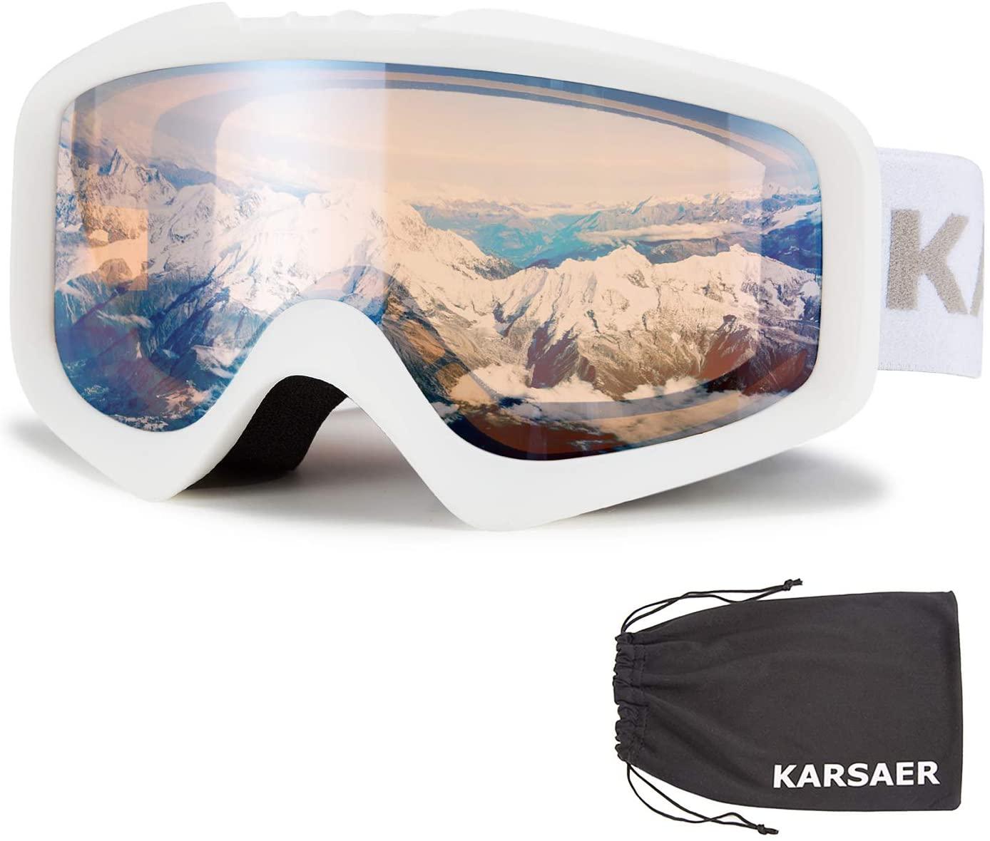 Karsaer Ski Goggles Anti-Fog Snowboard Goggles OTG 100% UV Protection Snow Goggles Bendable Dual-Lenses for Men Women Youth
