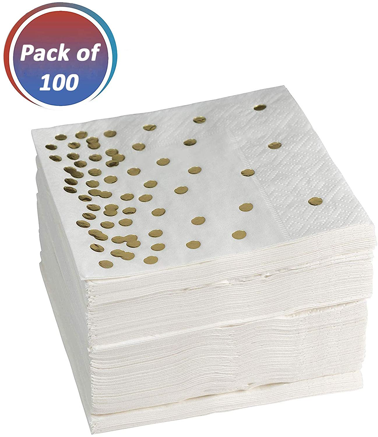 Paper Napkins – Decorative White Napkin With Gold dots – Pack of 100 Disposable Party Napkins – Eco-Friendly & Recyclable – Soft & Food-Grade Paper – Ideal for Weddings, Bridal Showers & Parties