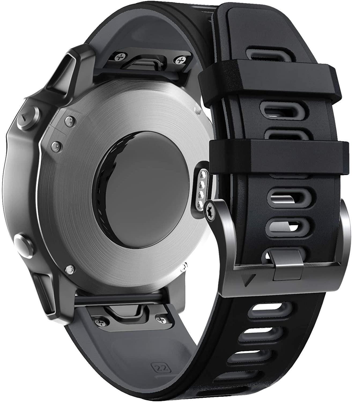 ANCOOL Compatible with Fenix 6 Watch Band 22mm Soft Sporty Pattern Watch Strap Bracelet Replacement for Fenix 5/Fenix 6 Pro/Fenix 5Plus/Forerunner 935 Smartwatches, Black-Grey