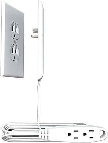 Sleek Socket Ultra-Thin Electrical Outlet Cover with 3 Outlet Extension Cord, 9-foot, Oversized Size
