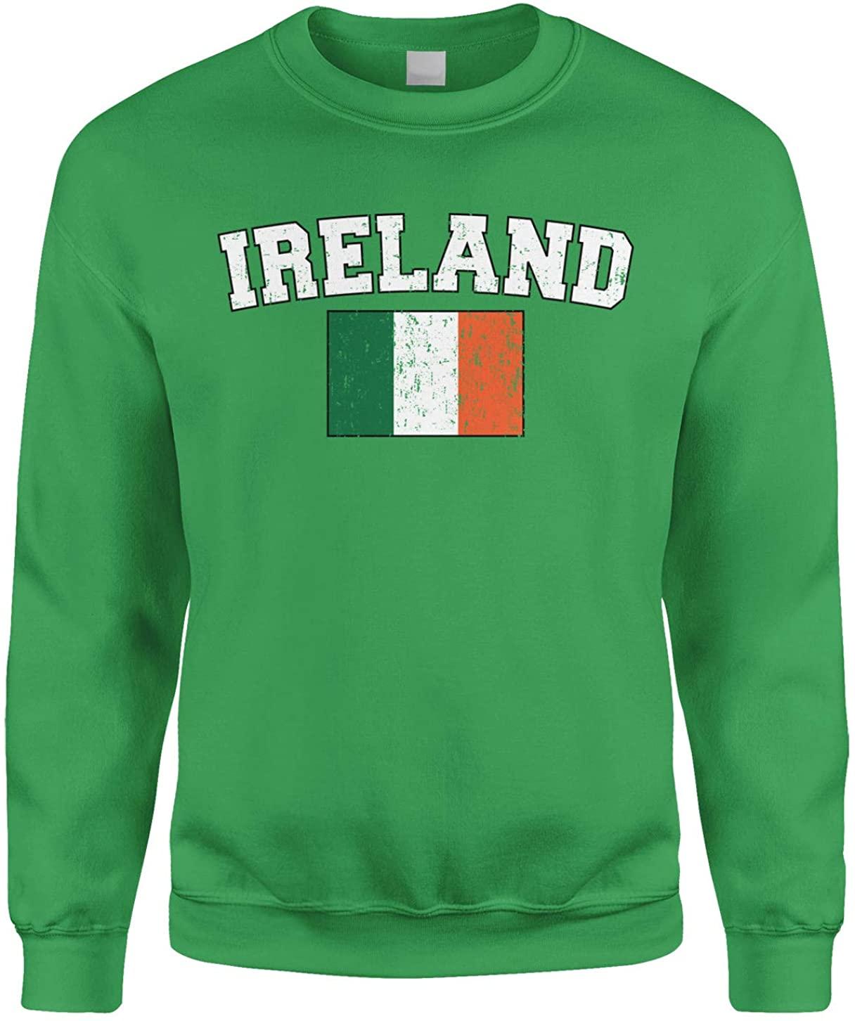 Cybertela Faded Distressed Irish Ireland Flag Crewneck Sweatshirt