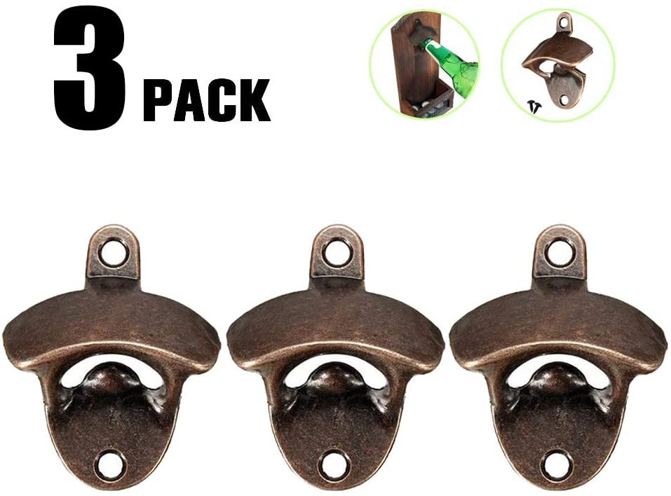 Cherry Juilt 3 Pack Bottle Opener Wall Mounted Rustic Beer Opener Set Vintage Look with Mounting Screws for Kitchen Cafe Bars (D)