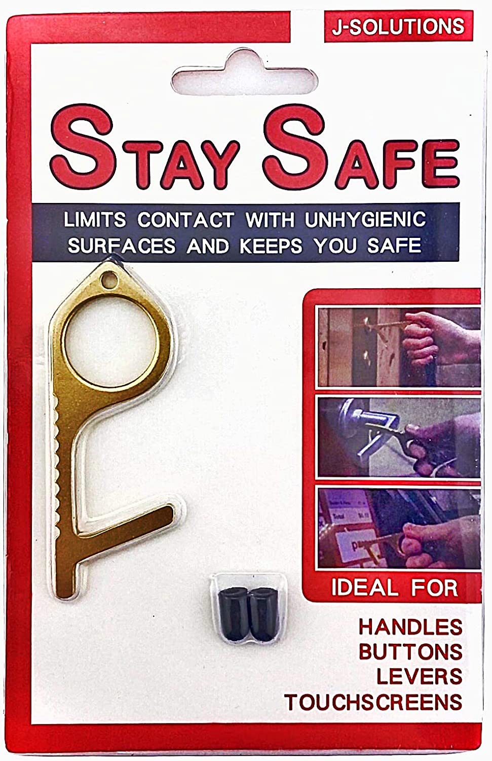 Stay safe No touch door opener/door opener tool, touchless door opener. Contactless door opener & button pushing tool, for dirty surfaces handles buttons. Comfortable on your finger and easy to use.