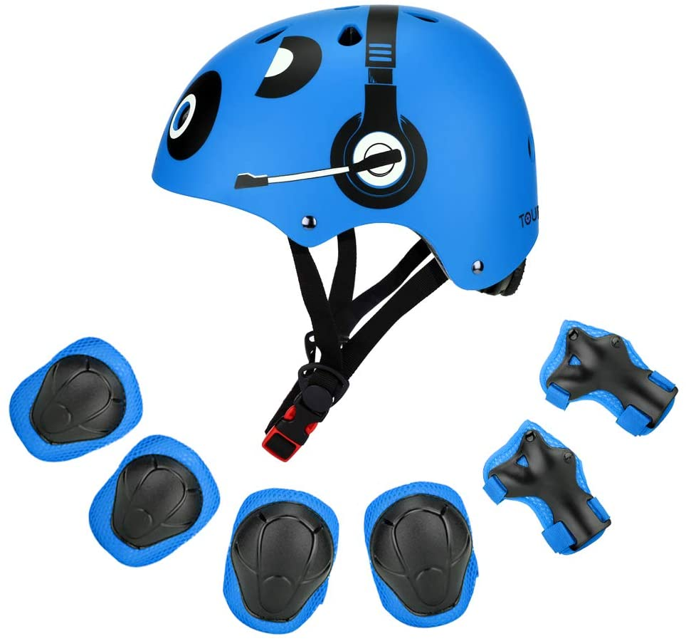 TOURNOW Kids Protective Gear Sets, CPSC Certified Multisport Helmet Wrist Elbow Knee Pads for Skateboarding, BMX, Skating, Scooter, Cycling (3 to 8 Years Old Boys Girls)