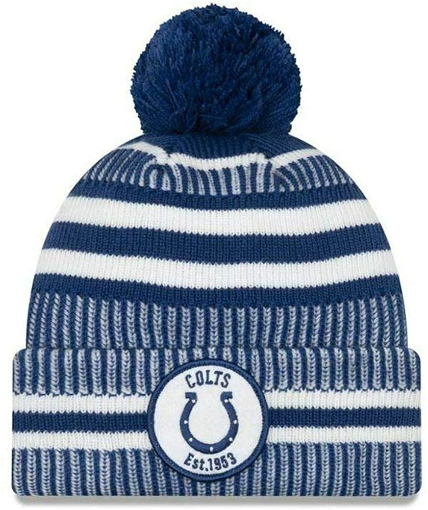 New Era Indianapolis Colts 2019 Sideline Home Pom Sport Knit Hat