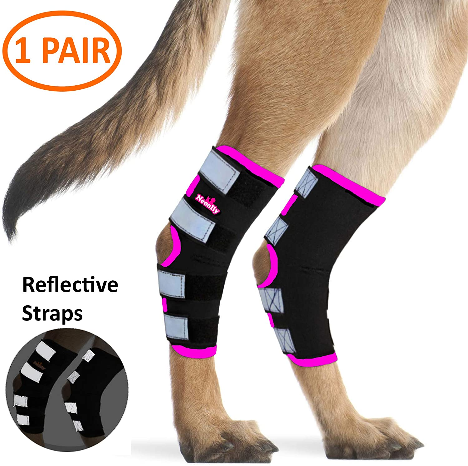 NeoAlly Dog Rear Leg Braces [Long Version] Canine Hind Hock Wraps with Safety Reflective Straps for Injury and Sprain Protection, Wound Healing and Loss of Stability from Arthritis - 3 Colors (Pair)