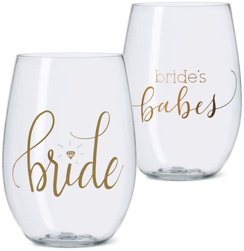 Bride Tribe Durable Plastic Stemless Wine and Champagne Glasses for Bachelorette Parties, Weddings and Bridal Showers (Includes 10 Brides Babes and 1 Bride)