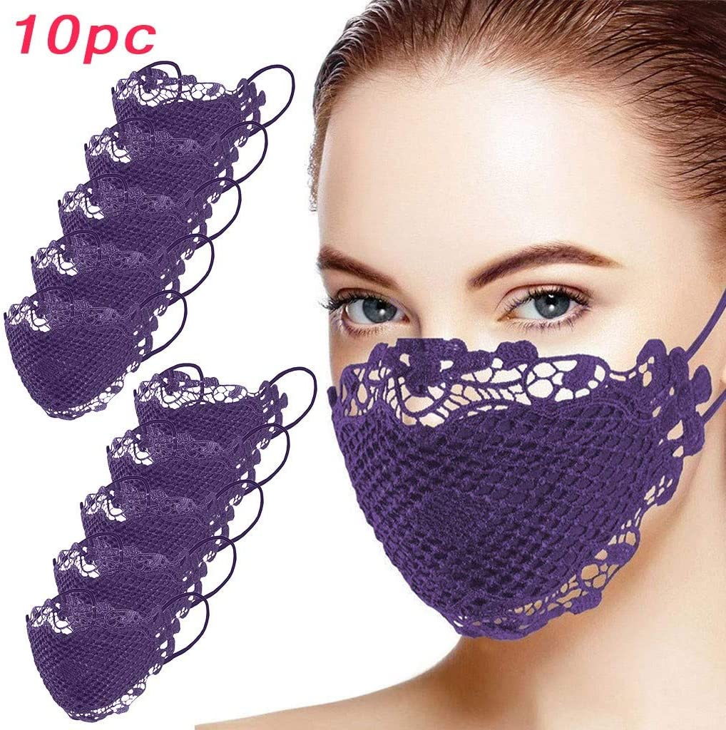 OMGYST Fast Delivery 10pc Fashion Face Bandana for Women with Delicate Lace Flowers Decorative Cloth Face Bandana Reusable Washable Dustproof Anti-Haze (Purple)