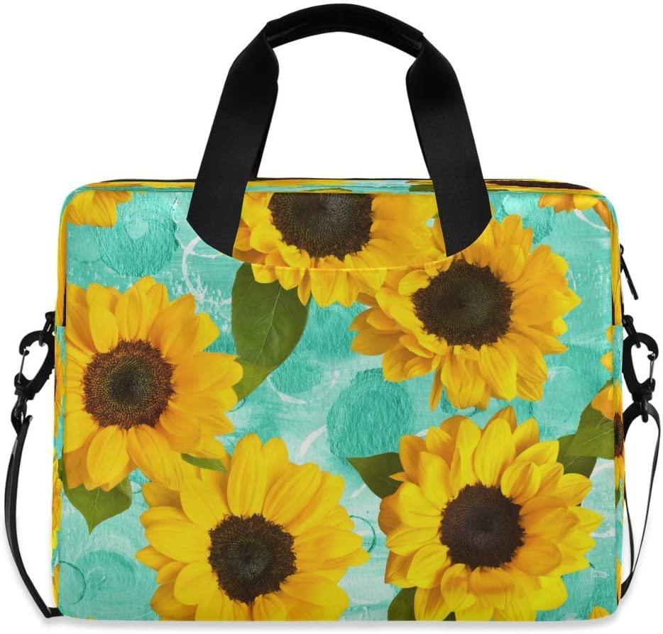 YKMUSTwin Vivid Floral Sunflower 13-15.6 Inch Laptop Shoulder Messenger Bag Laptop Case Sleeve with Strap Computer Briefcase for Women Men Boy Girls