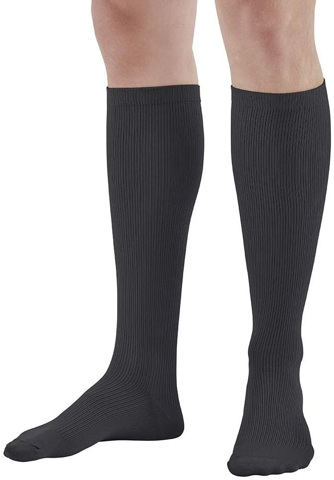 Ames Walker AW Style 166 Mens Travel 15 20mmHg Knee High Socks Black XLarge