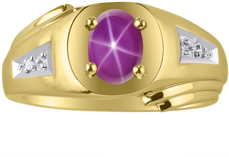 RYLOS Classic Oval Red Star Ruby & Diamond Ring - July Birthstone