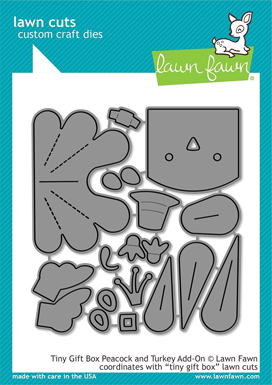 Lawn Fawn Tiny Gift Box Peacock and Turkey Add-on Die (LF2051)