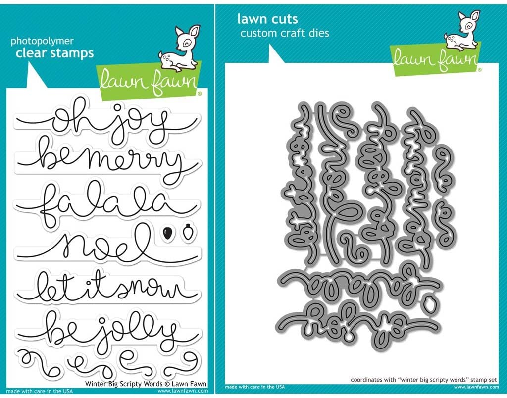 Lawn Fawn Winter Big Scripty Words Stamps (LF1228) and Dies (LF1229) Set