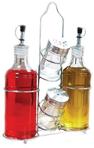 Palais Glassware 5 Piece Olive Oil Dispenser - Vinegar Glass Cruet - Salt and Pepper Shaker Set with a Caddy - 14 Oz. Bottles - 3 Oz. Shakers