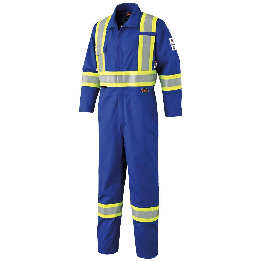Pioneer High Visibility, Adjustable, Flame Resistant Safety Coveralls with 2-Way Zipper, Reflective Tape, 7 Pockets, Clip Strap, Blue, Unisex, 44, V2540310-44