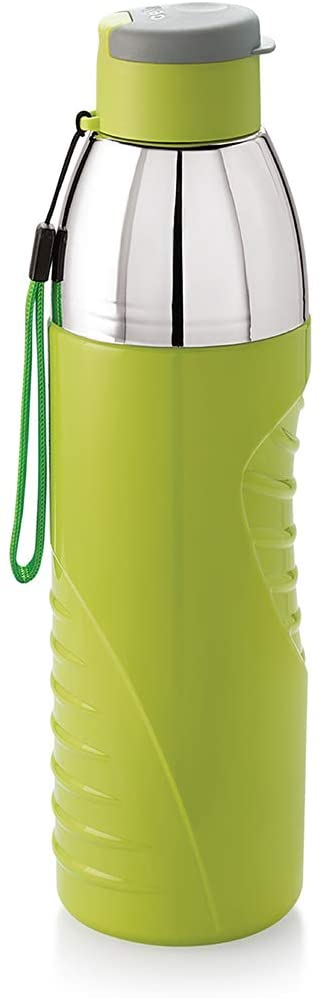 CELLO Plastic Insulated BPA Free Water Bottle for Office, Gym, Running/Easy Carry Ergonomic Odourless Reusable Drinking Container with Wide Mouth and Easy Flip Top Cap - Puro Gliss (20 Oz, Green)